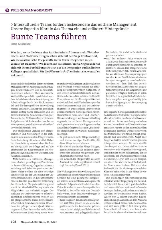 Bunte Teams führen – Pflegezeitschrift 2014-2
